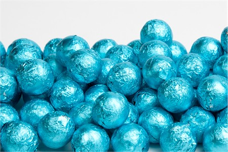 Caribbean Blue Foiled Milk Chocolate Balls (1 Pound Bag)