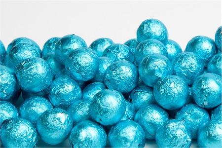 Caribbean Blue Foiled Milk Chocolate Balls (10 Pound Case)