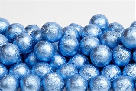 Pastel Blue Foiled Milk Chocolate Balls (10 Pound Case)
