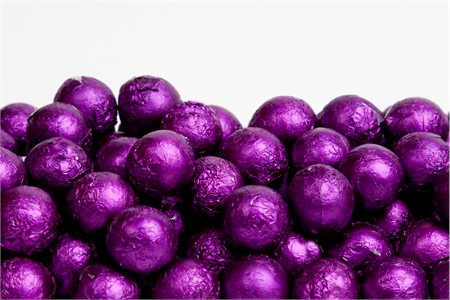 Purple Foiled Milk Chocolate Balls (10 Pound Case)