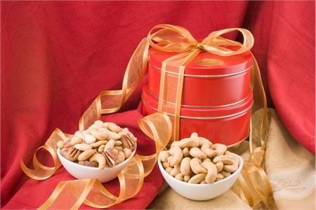 Giant Whole Cashews/Superior Mixed Nut Gift Tin Tower