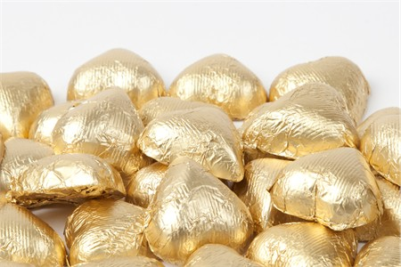 Gold Foiled Milk Chocolate Hearts (5 Pound Bag)