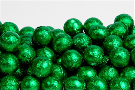 Green Foiled Milk Chocolate Balls (25 Pound Case)
