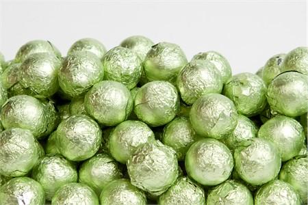 Leaf Green Foiled Milk Chocolate Balls (25 Pound Case)