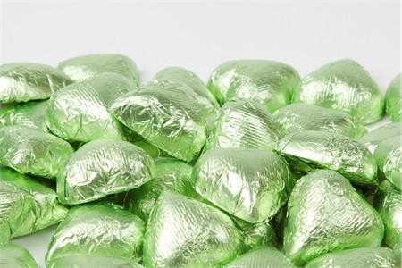 Leaf Green Foiled Milk Chocolate Hearts (1 Pound Bag)