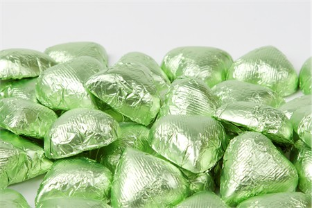 Leaf Green Foiled Milk Chocolate Hearts (5 Pound Bag)