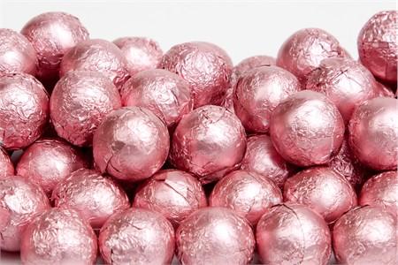 Light Pink Foiled Milk Chocolate Balls (25 Pound Case)