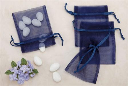 Navy Sheer Organza Party favor Bags