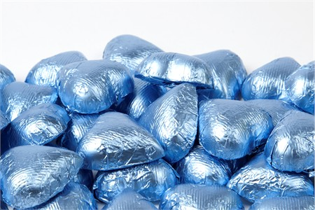 Pastel Blue Foiled Milk Chocolate Hearts (25 Pound Case)