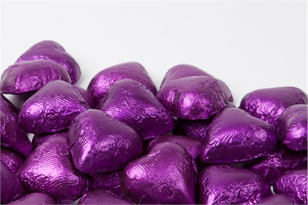 Purple Foiled Milk Chocolate Hearts (5 Pound Bag)