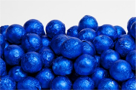 Royal Blue Foiled Milk Chocolate Balls (10 Pound Case)