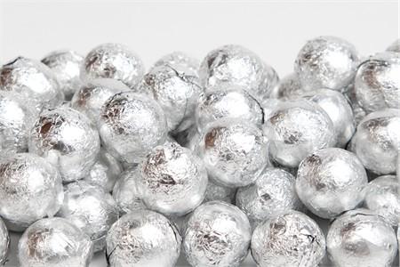 Silver Foiled Milk Chocolate Balls (10 Pound Case)