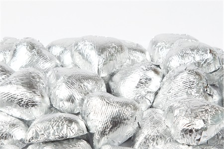 Silver Foiled Milk Chocolate Hearts (5 Pound Bag)