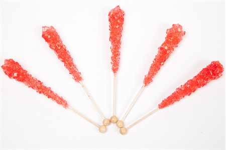 Strawberry Wrapped Rock Candy Sticks (10 Pieces)