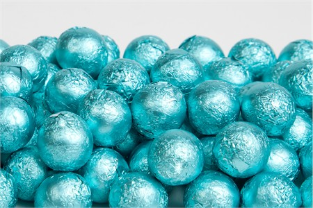 Tiffany Blue Foiled Milk Chocolate Balls (25 Pound Case)