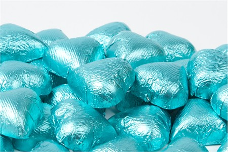 Tiffany Blue Foiled Milk Chocolate Hearts (25 Pound Case)