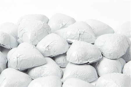 White Foiled Milk Chocolate Hearts (10 Pound Case)