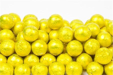Yellow Foiled Milk Chocolate Balls (1 Pound Bag)