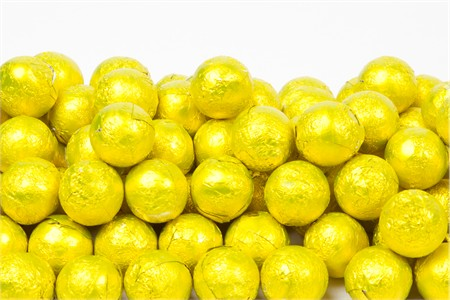 Yellow Foiled Milk Chocolate Balls (5 Pound Bag)