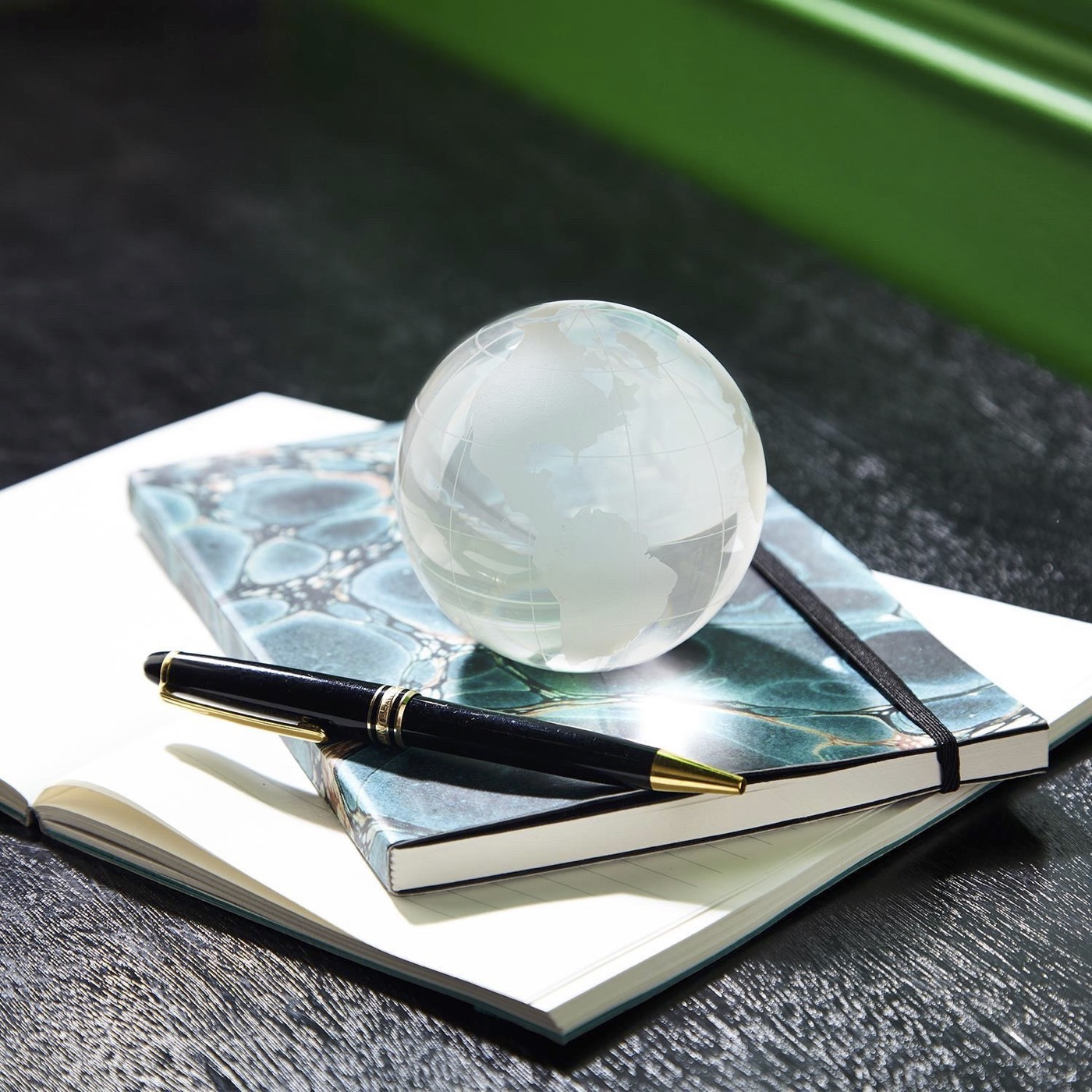 Worldwide Etched Glass Paperweight