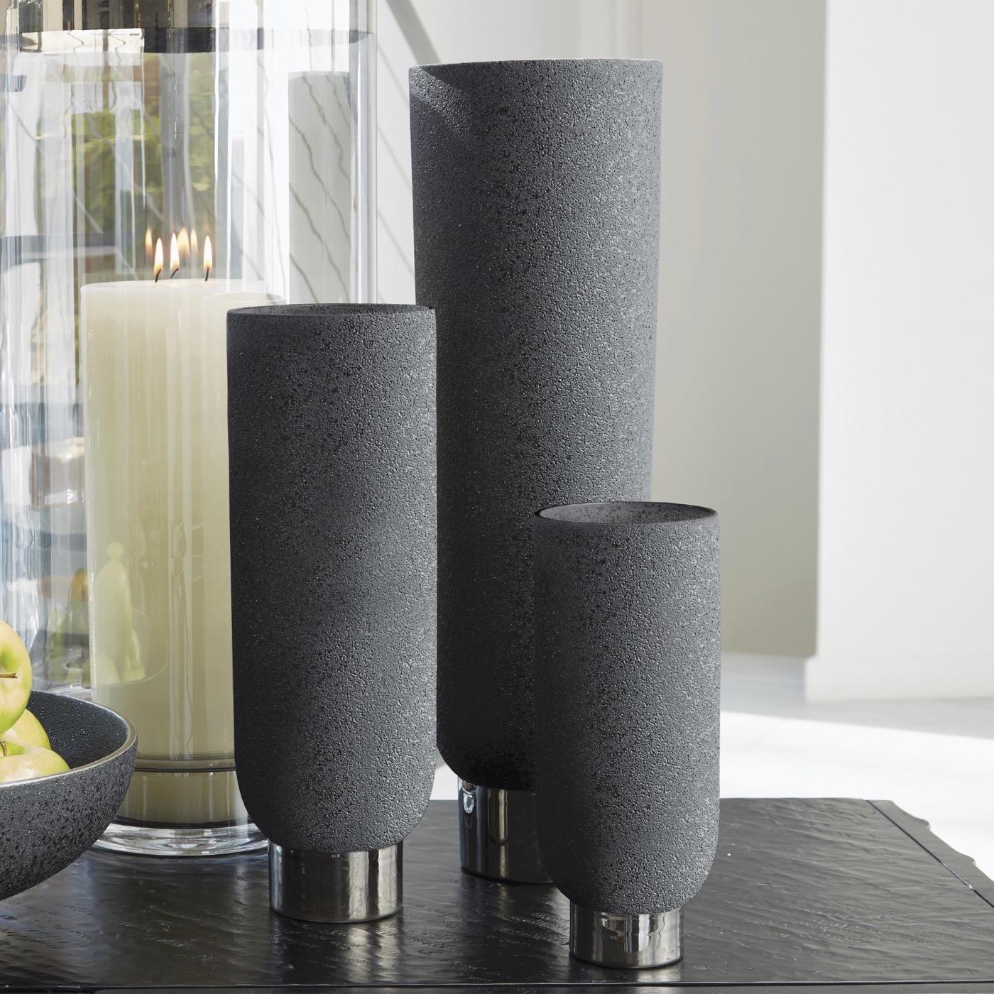 Cinder Ceramic Vases | Black