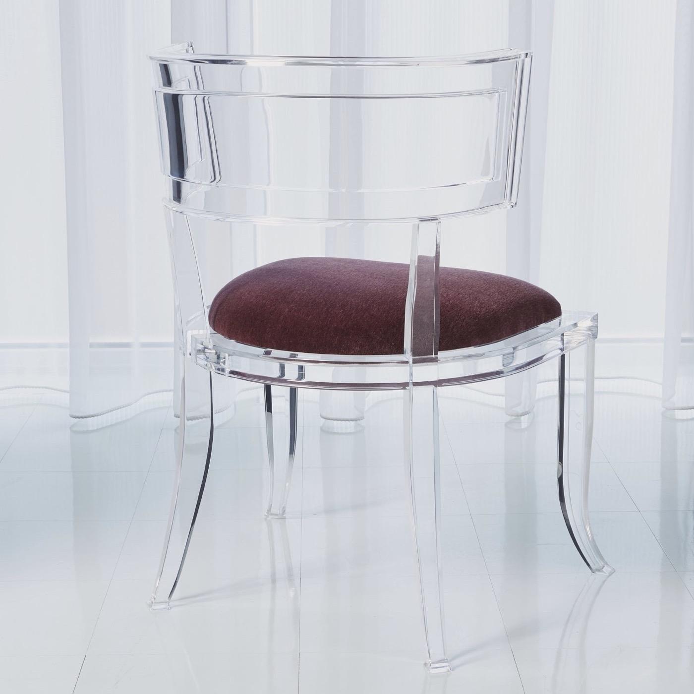 Klismos Lucite Side Chair | Purple