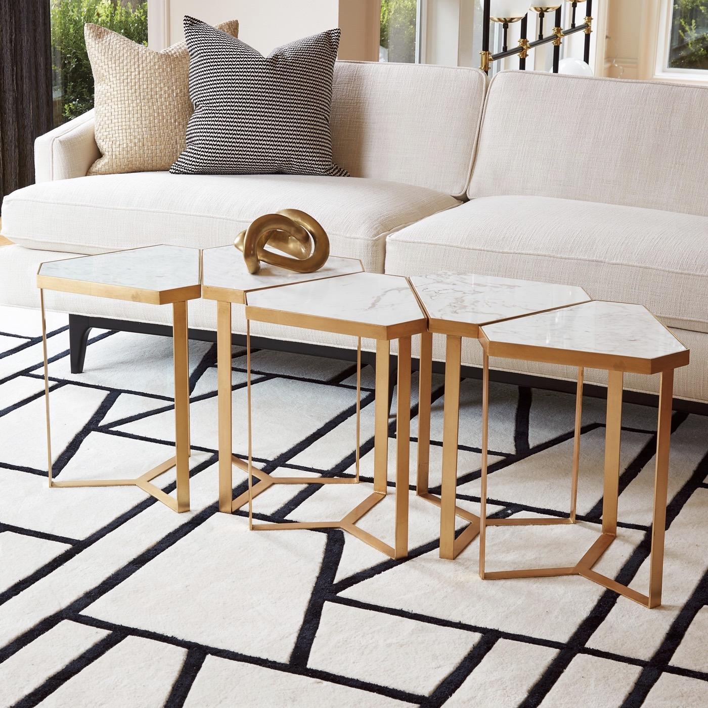 Delta Goldleaf Side Table | Marble Top