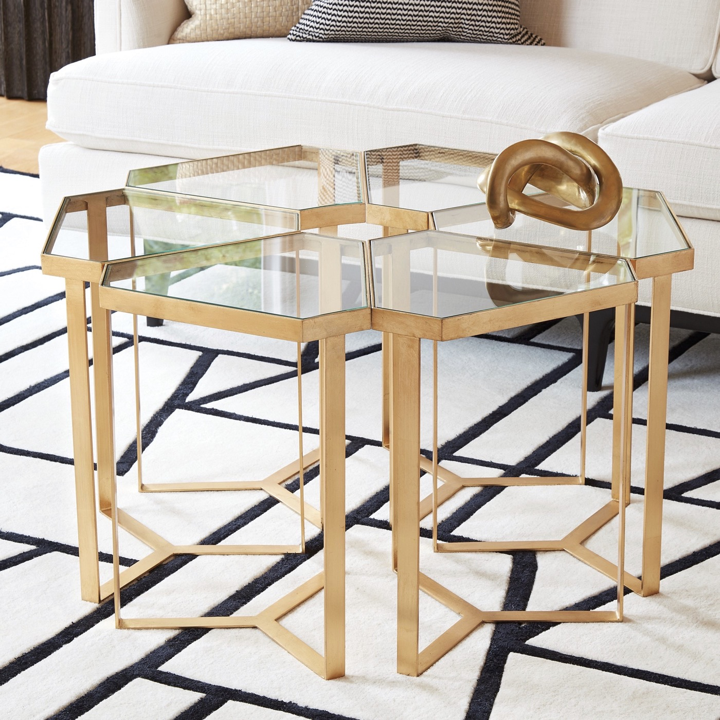 Delta Goldleaf Side Table | Glass Top