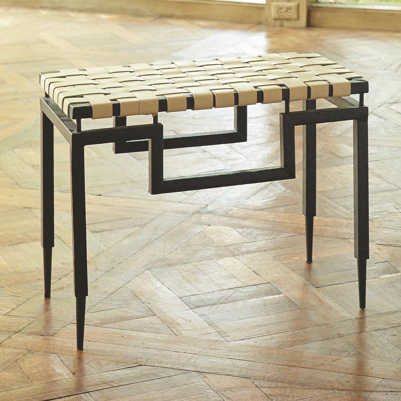 Rafi Leather & Iron Bench