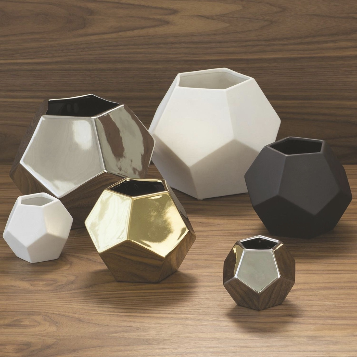 Perry Pentagonal Vases   Silver