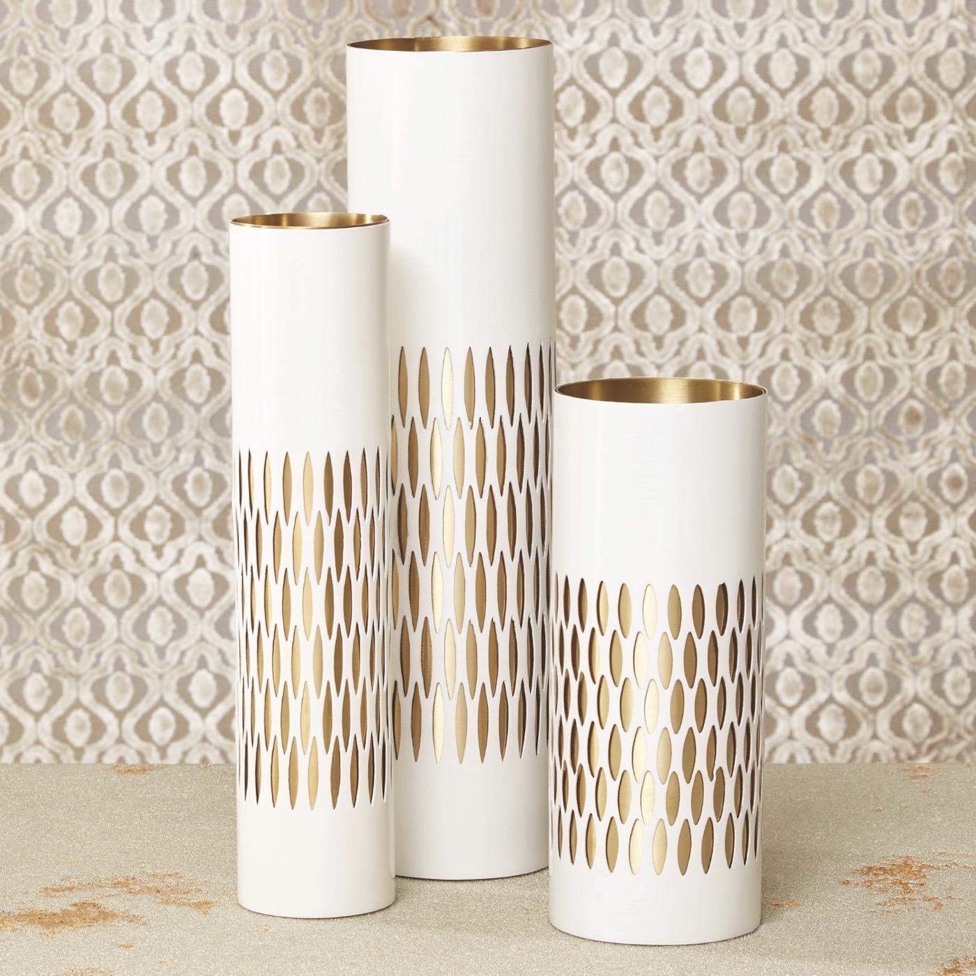 Bracelet Etched Vases | White & Brass