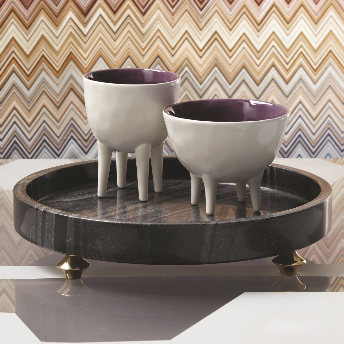 Quintessential Round Tray   Black Marble