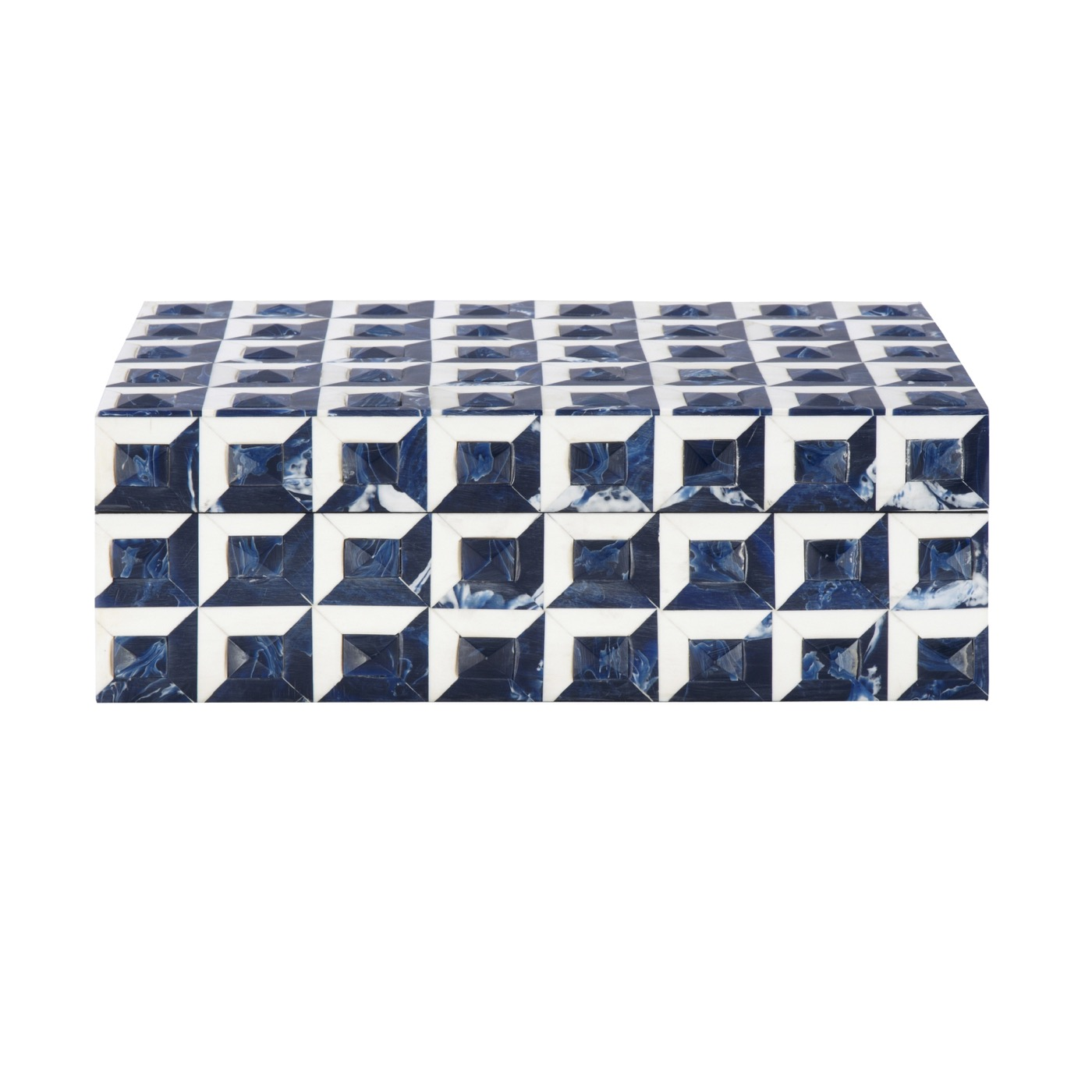 Zimbo Tiled Box | Blue & White Geometric
