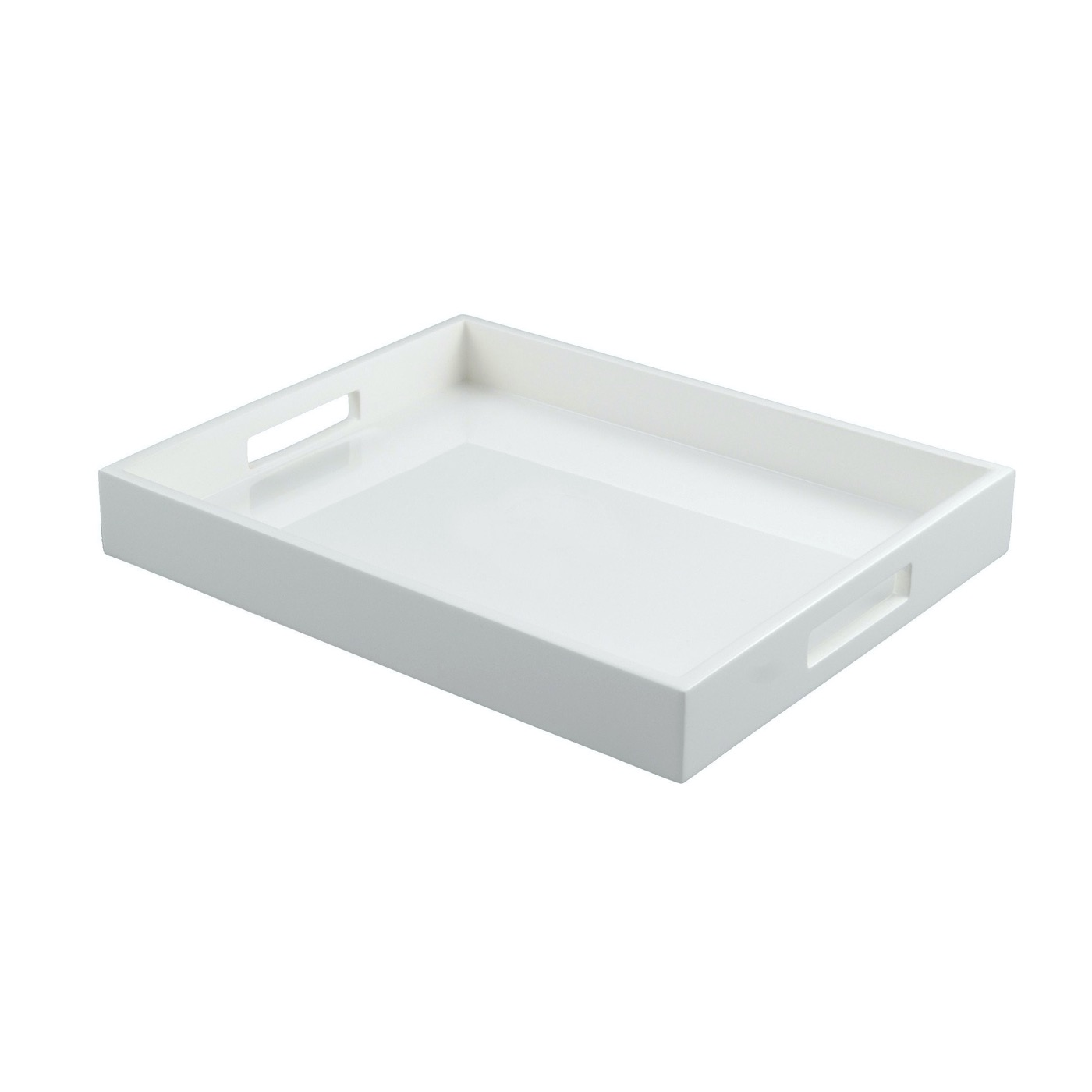Ellie Rectangular Lacquered Trays   Solid White