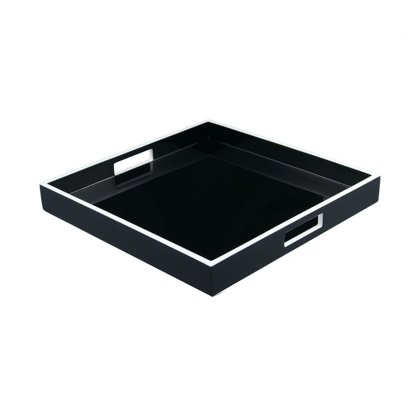 Ellie Square Lacquered Trays | Black w/White Trim