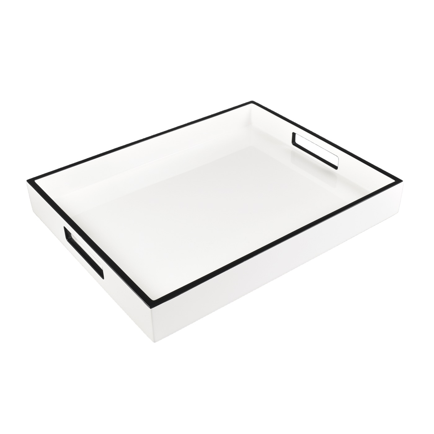 Ellie Rectangular Lacquered Trays | White w/Black Trim