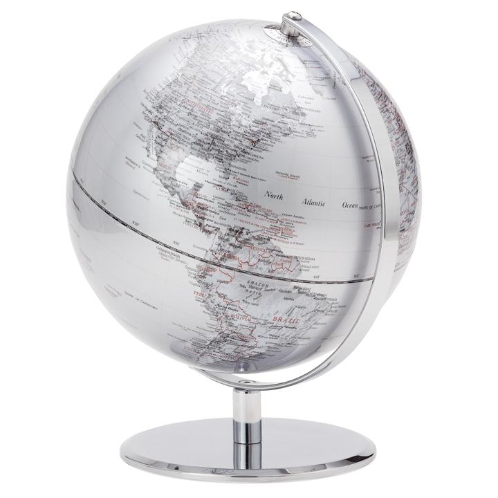 Meridian World Globe | Silver