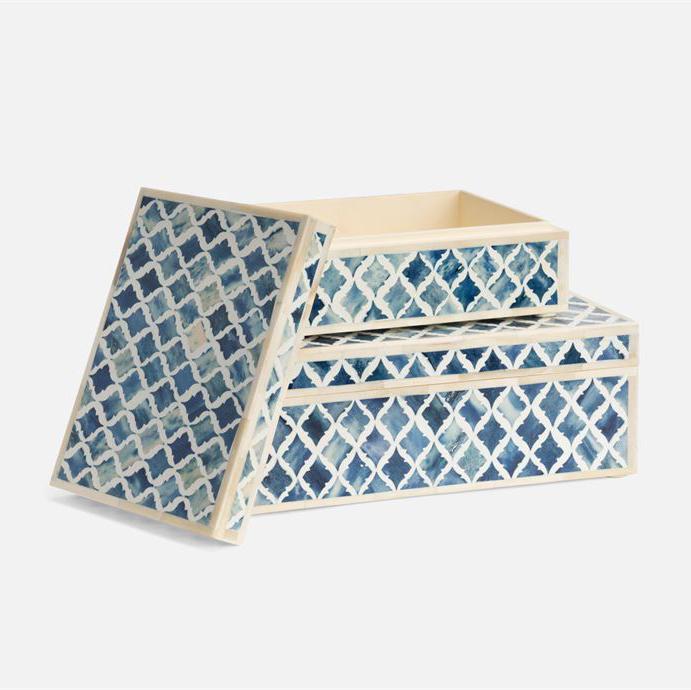Lucia Bone Boxes Set | Blue