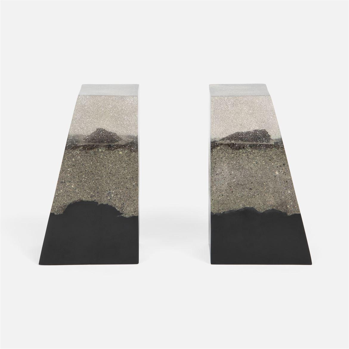 Capo Bookends | Grey & Black Sand