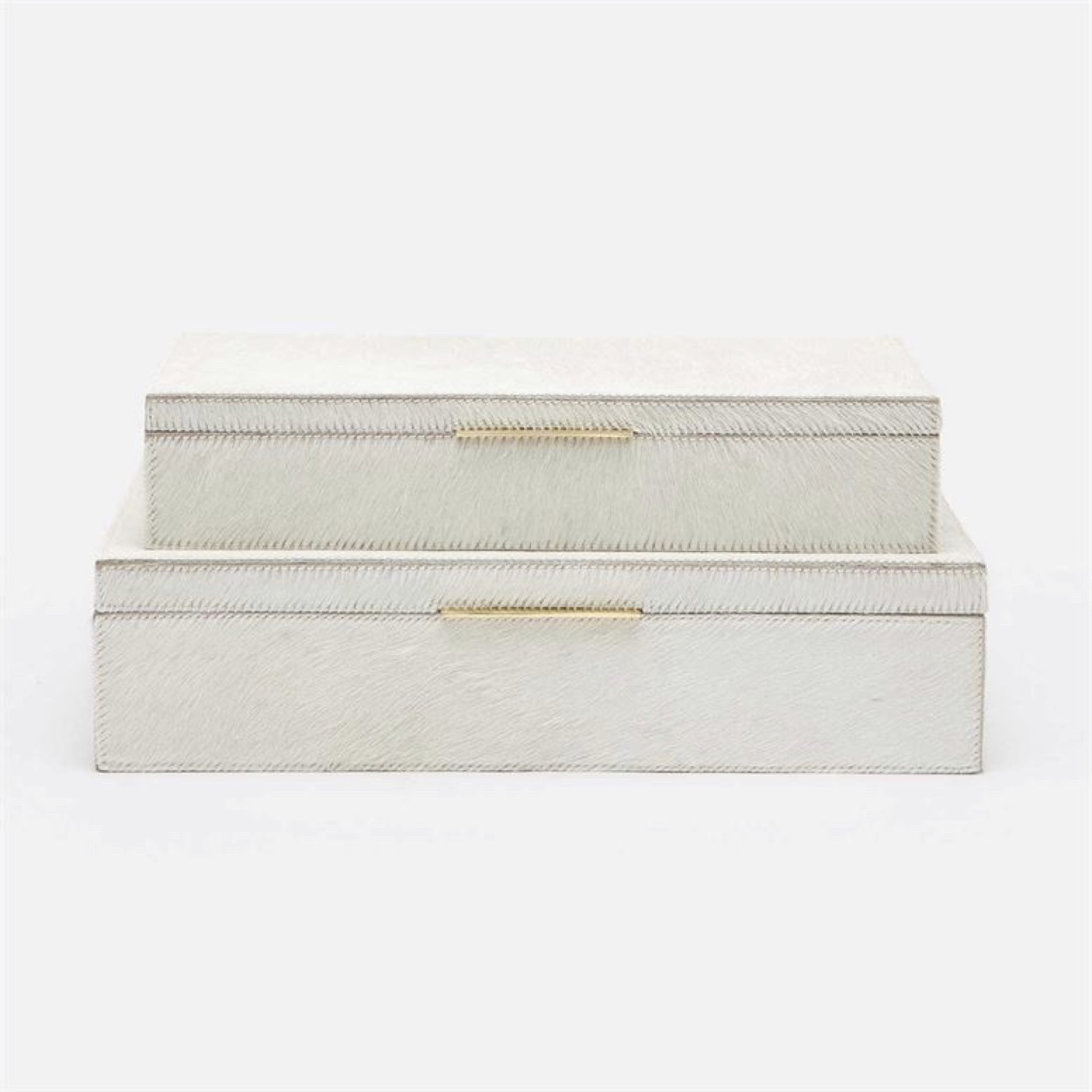 Halsey Boxes Set | White Hide
