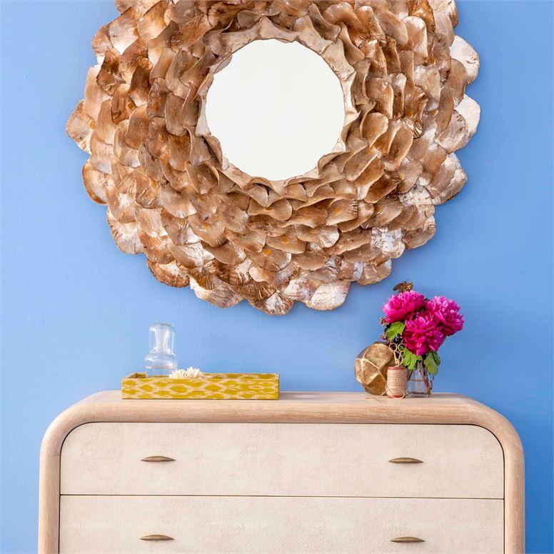 Wavy Shell Mirror   Light Oyster