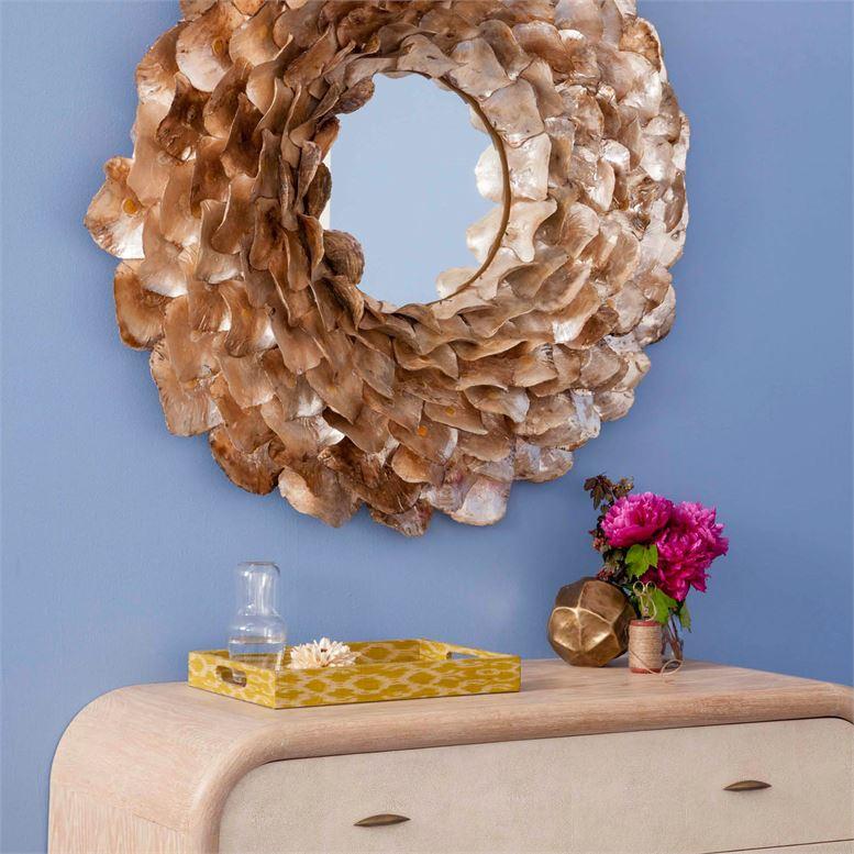 Wavy Shell Mirror | Light Oyster