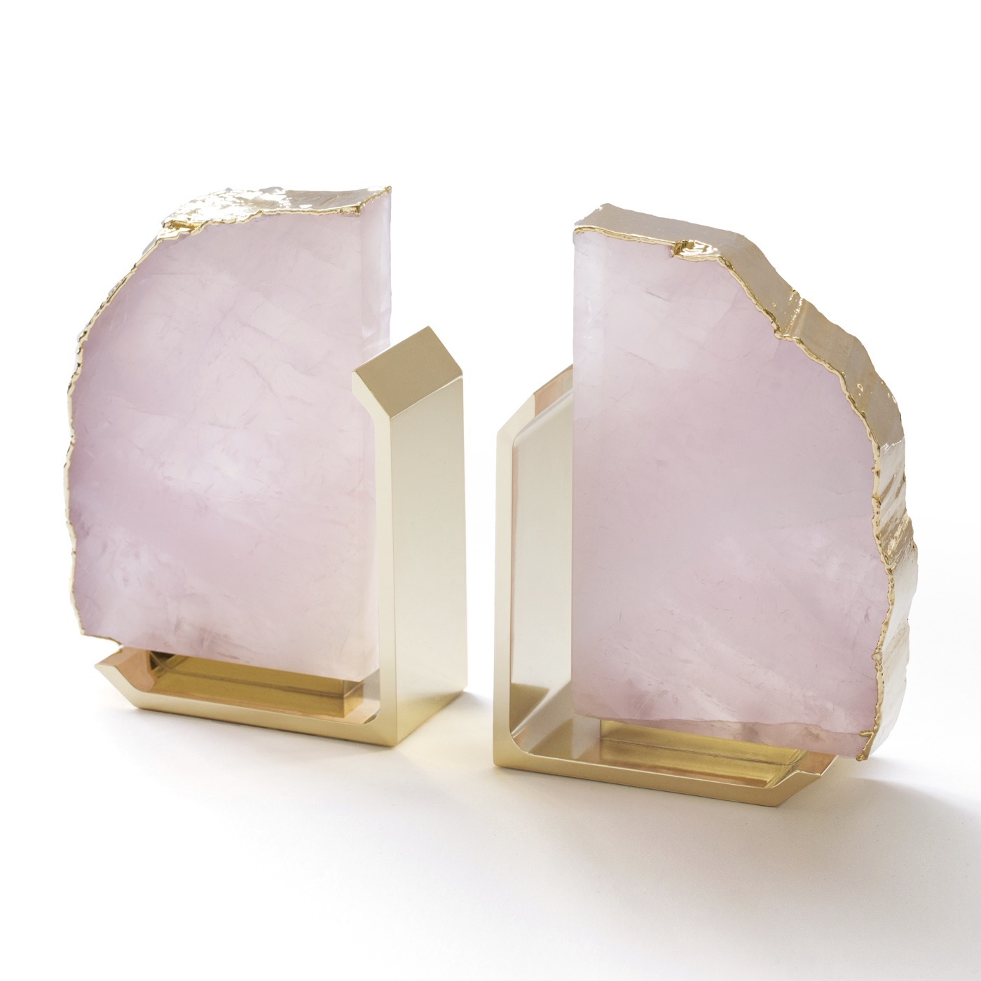 Caverna Bookends | Rose Quartz & Gold