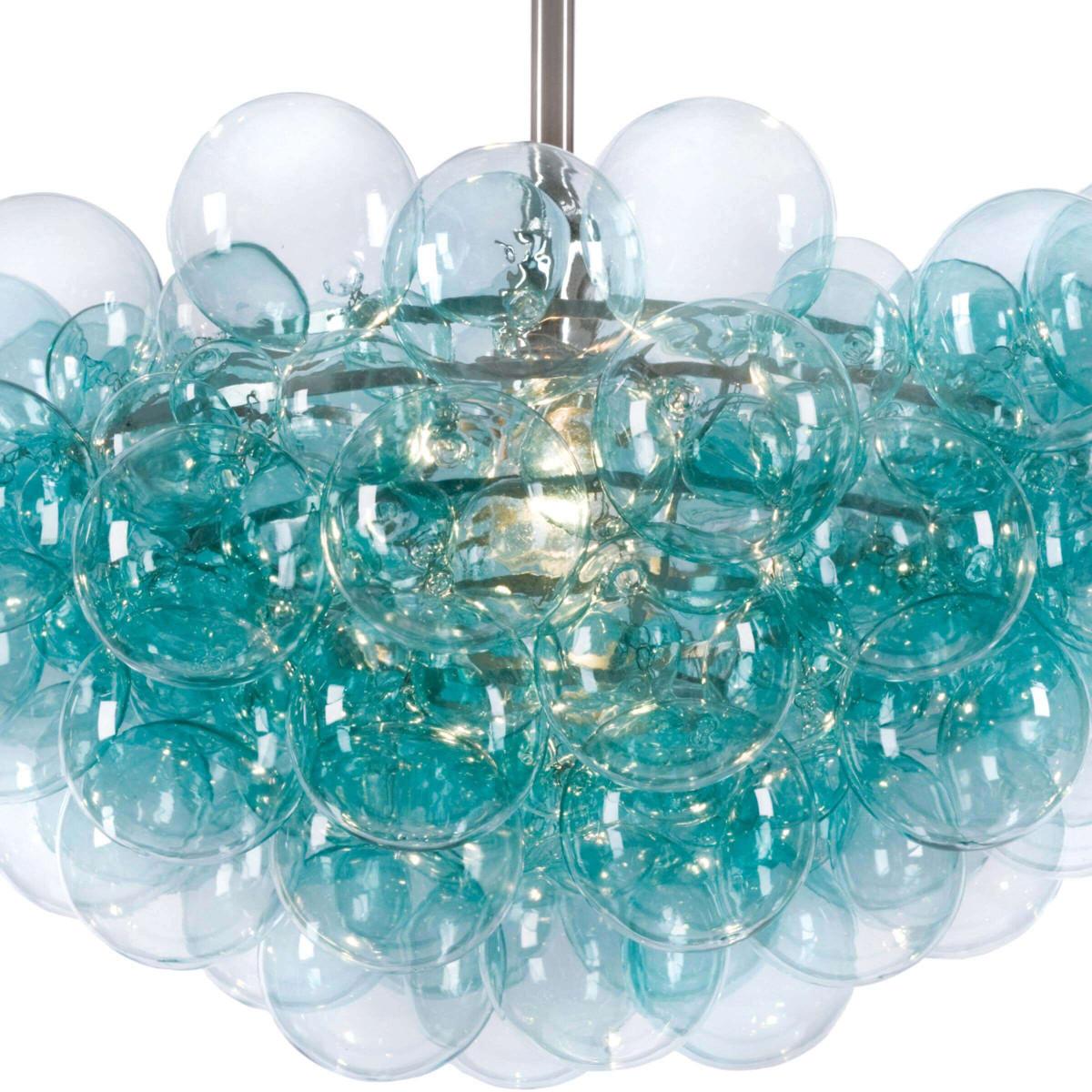 Bolle Glass Globes Chandelier | Aqua & Nickel