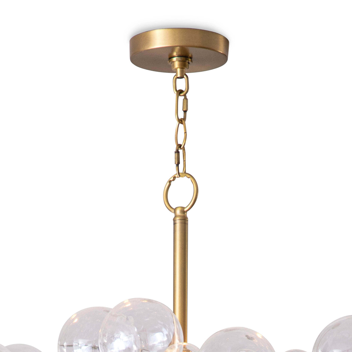 Bolle Glass Globes Chandelier   Clear & Brass