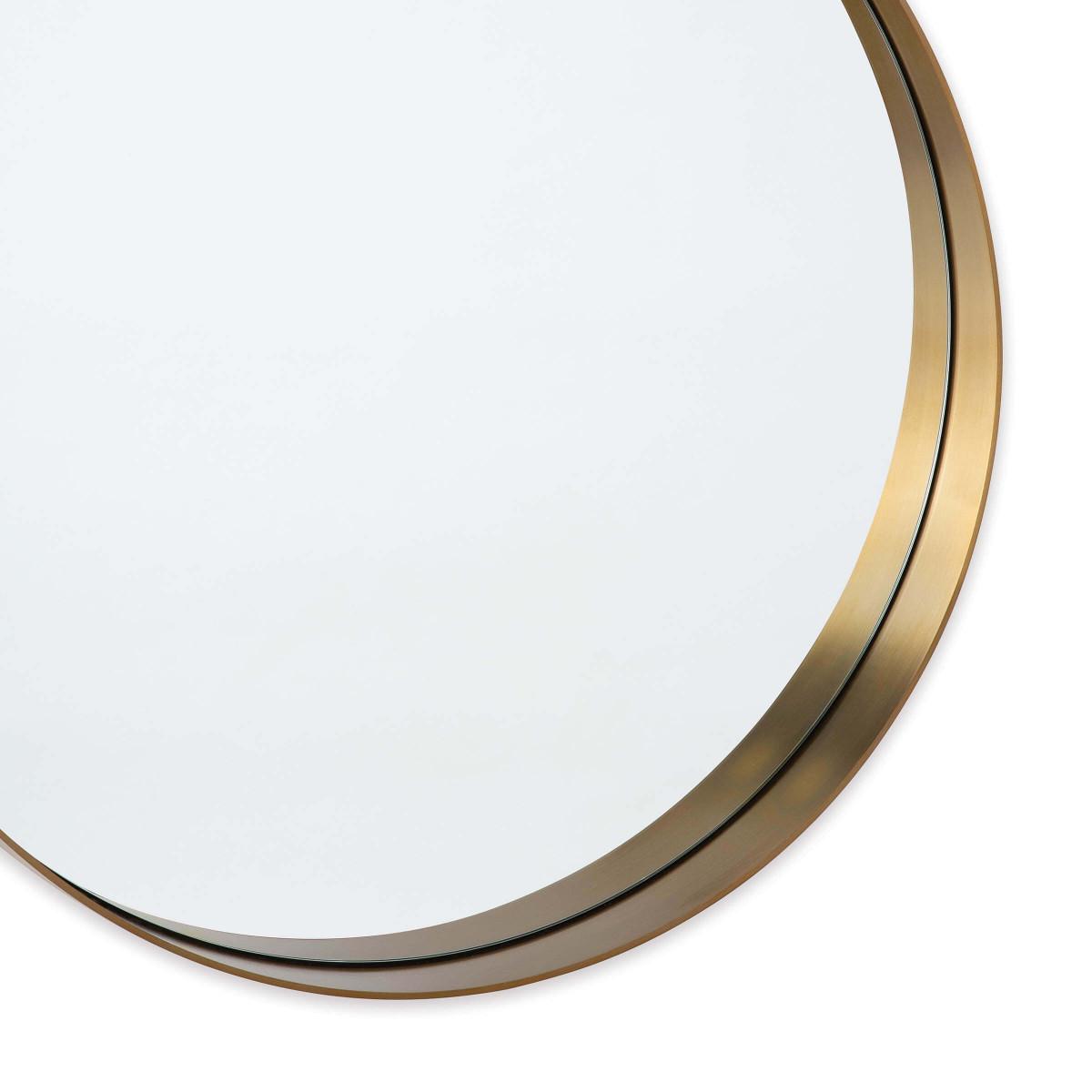 Gunner Round Mirror   Brass