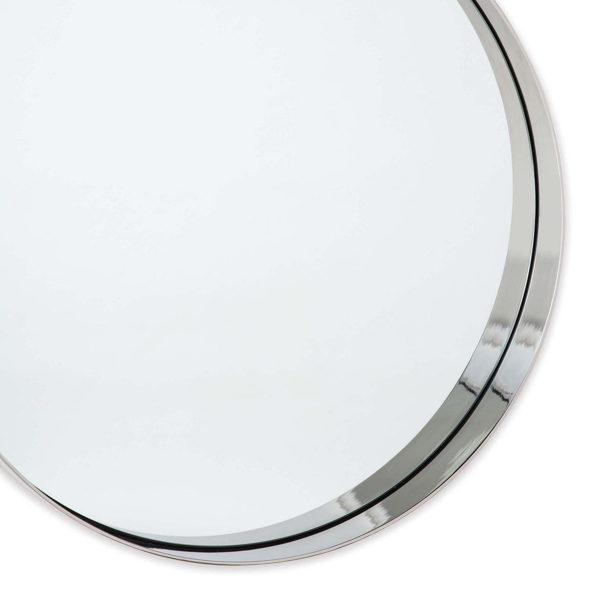 Gunner Round Mirror | Nickel
