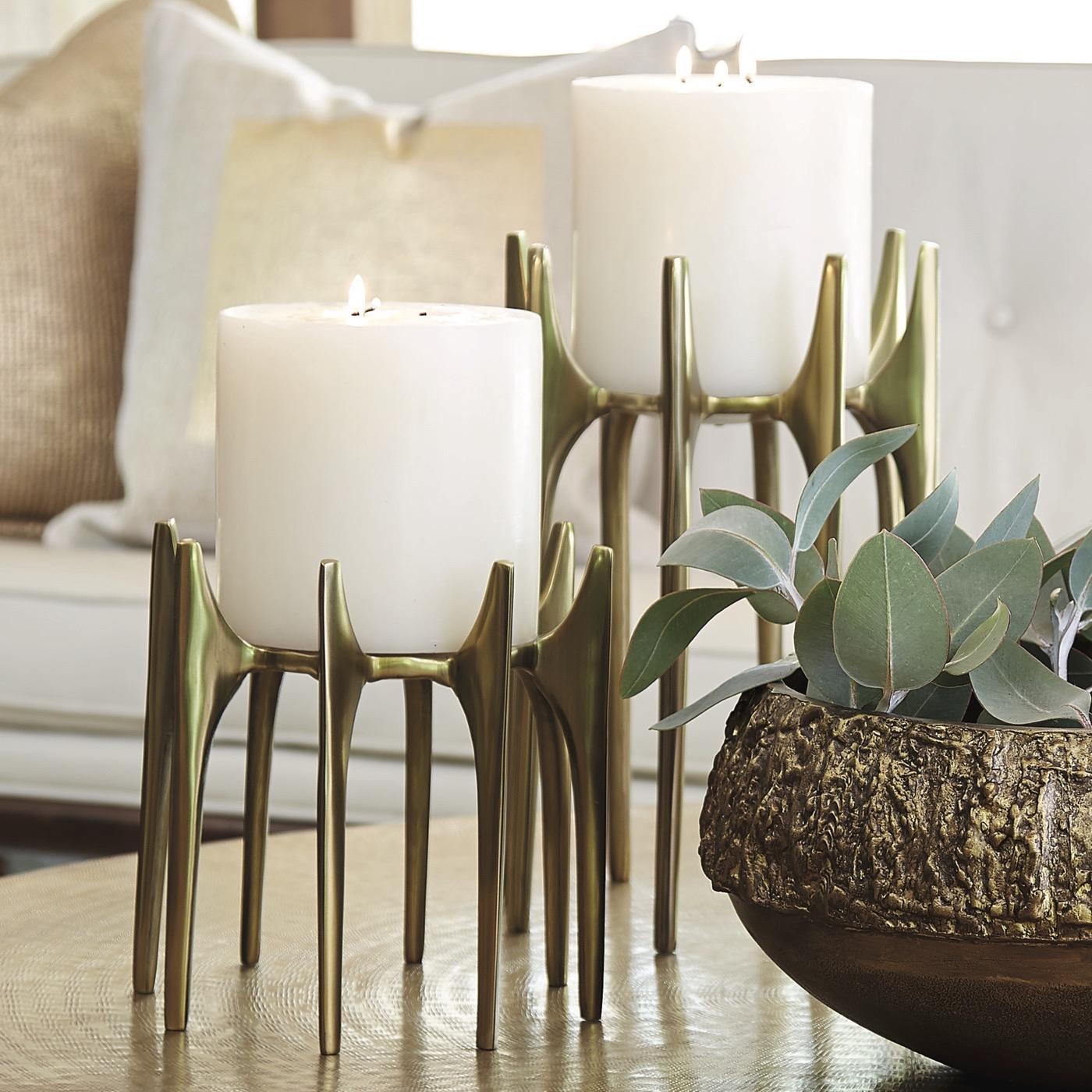 Aguado Pillar Candleholders | Antique Brass