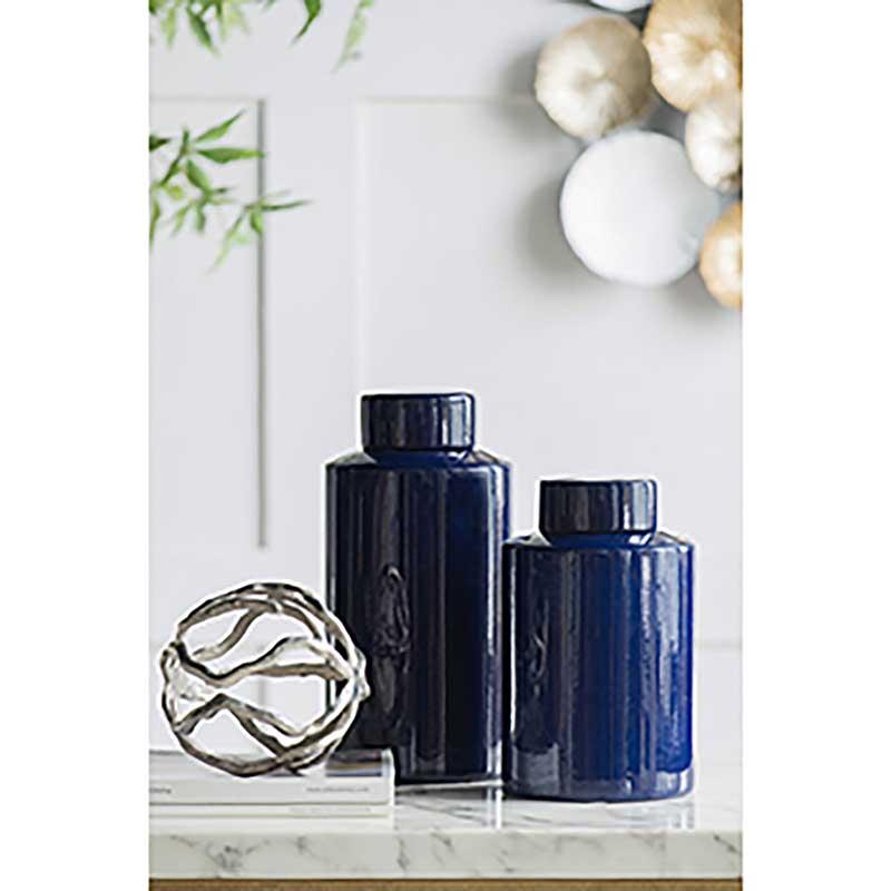 Ophelia Blue Ceramic Jar | Short
