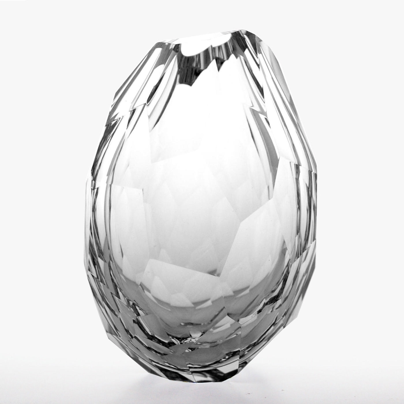 Fritz Faceted Glass Vases   Neutral